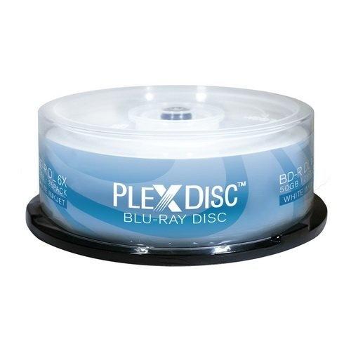 graphic regarding Printable Blu Ray Discs identified as PlexDisc 6X 50GB White Inkjet Printable BD-R DL Blu-ray Blank - 25 Disc