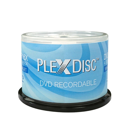 picture relating to Printable Dvd Disc identify PlexDisc 16X 4.7GB White Inkjet Printable DVD-R Cake Box - 50 Disc