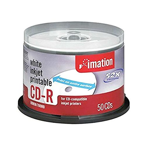 photograph regarding Printable Cds named Imation 52X 700MB 80 MIN White Thermal Printable CD-R - 50 Disc